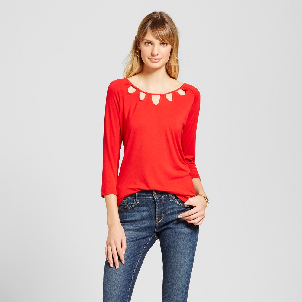 Women's 3/4 Sleeve Top with Keyhole Neck Detail – Red XL – Simply by Love Scarlett, Size: Small