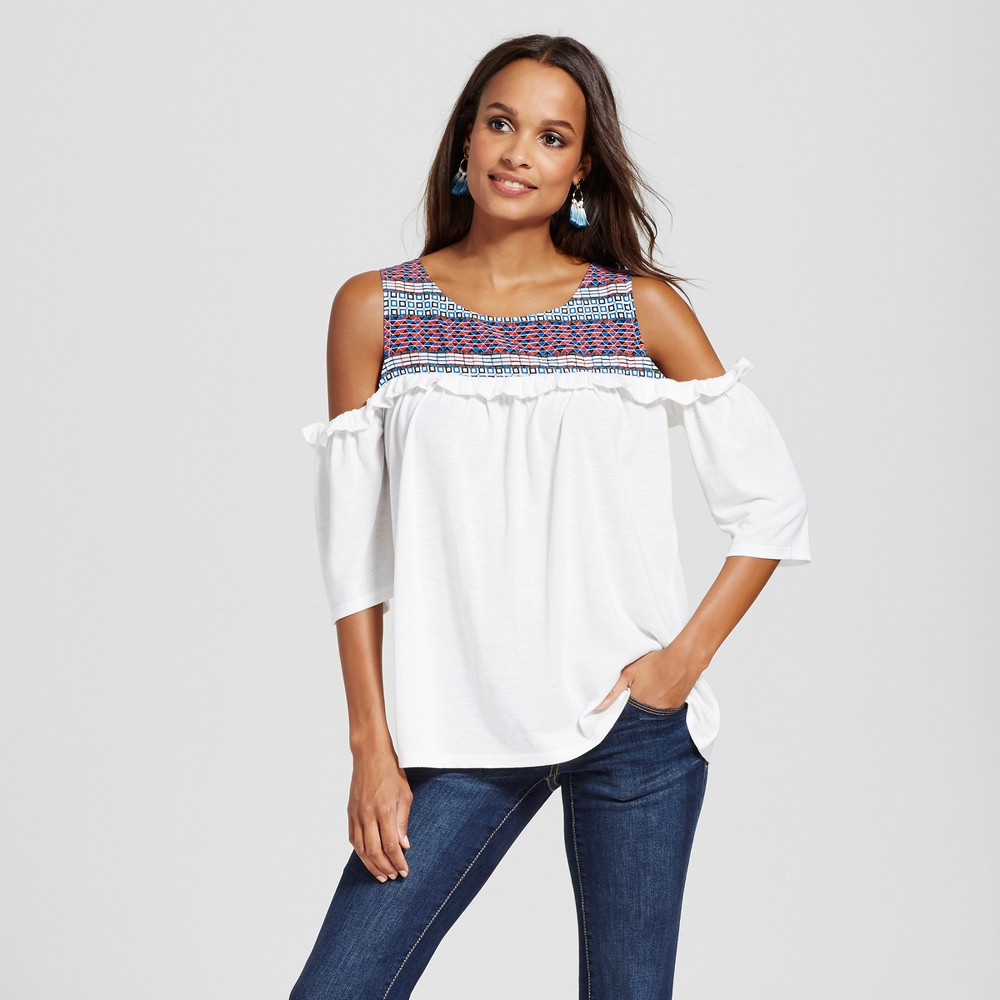 Women's Off the Shoulder Mixed Media Printed Blouse – White Combo M – Simply by Love Scarlett