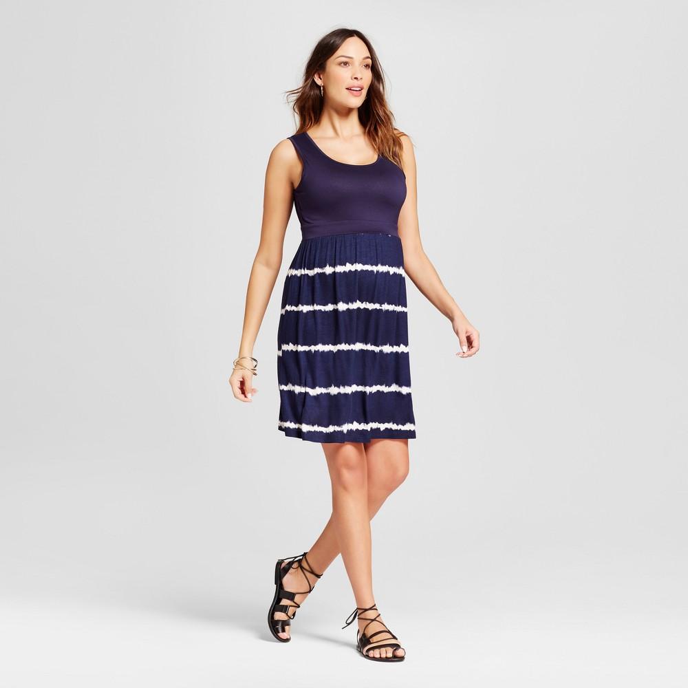 Maternity Tie Dye Print Dress Blue L - Ma Cherie, Womens