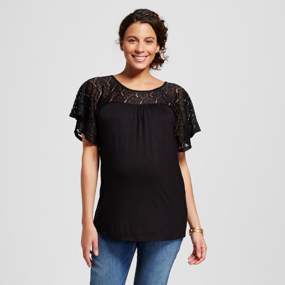Maternity Crochet Yoke Blouse Black XL - Ma Cherie, Womens