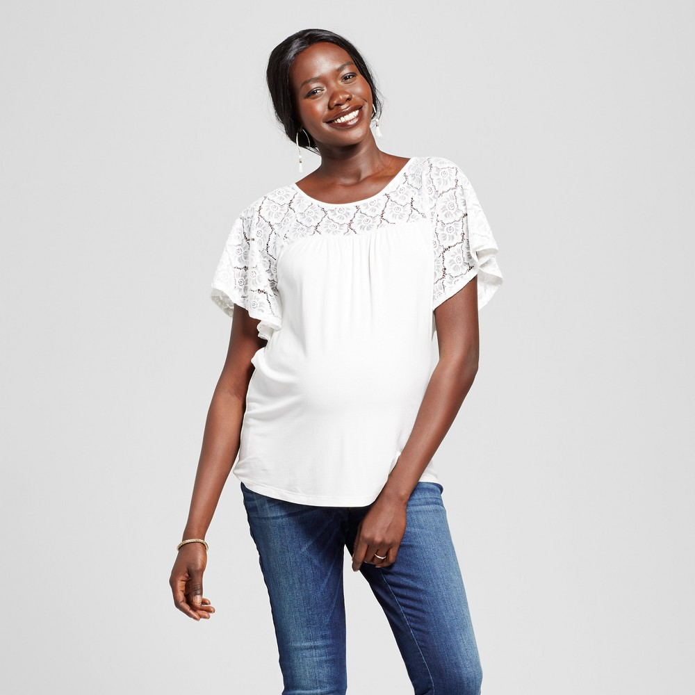 Maternity Short Sleeve Crochet Yoke Top White L - Ma Cherie Maternity, Womens