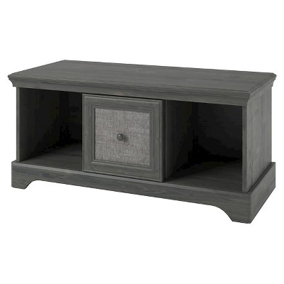 Stone River Storage Bench With Fabric Insert   Rodeo Oak   Altra