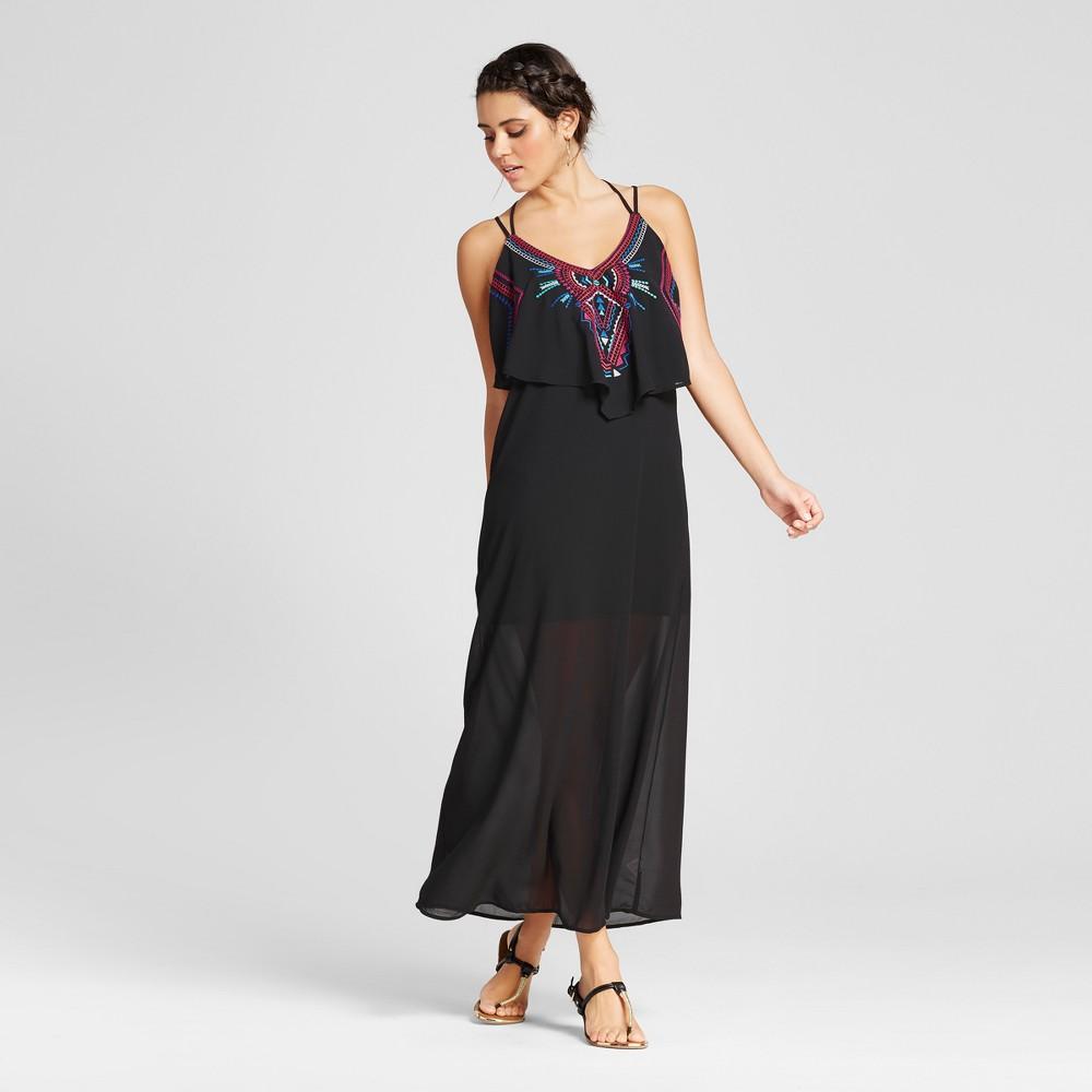 Womens Embroidered Popover Maxi Dress - Xhilaration (Juniors) Black Xxl