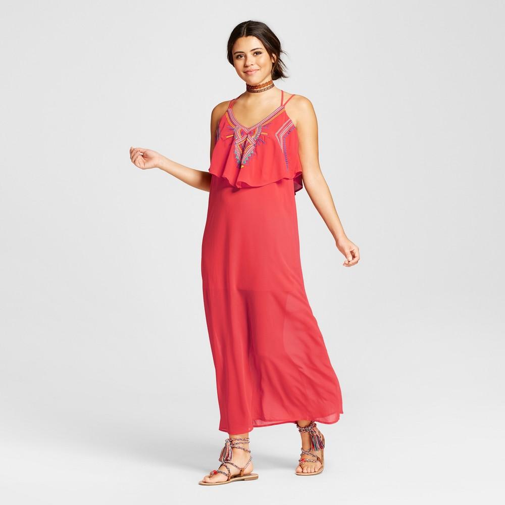 Womens Embroidered Popover Maxi Dress - Xhilaration (Juniors) Orange S