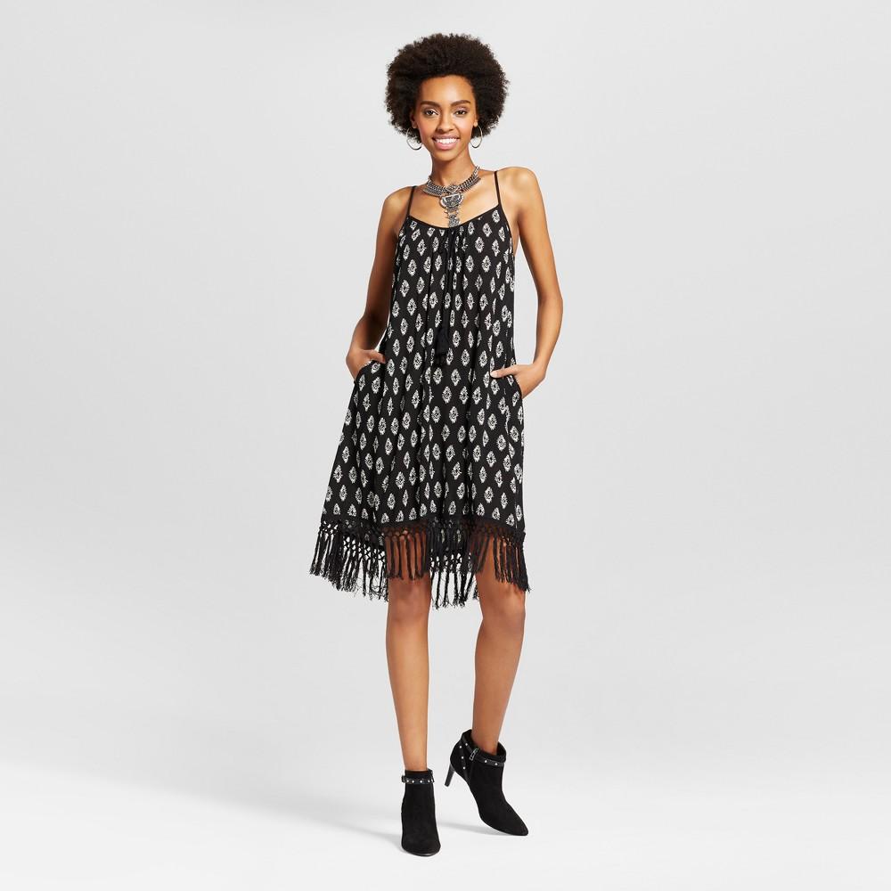 Womens Fringe Strappy Shift Dress - Xhilaration (Juniors) Black XL