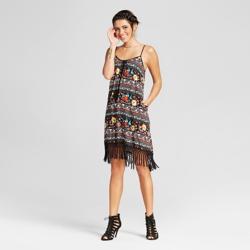 Womens Fringe Strappy Shift Dress - Xhilaration (Juniors) Rust (Red) XS