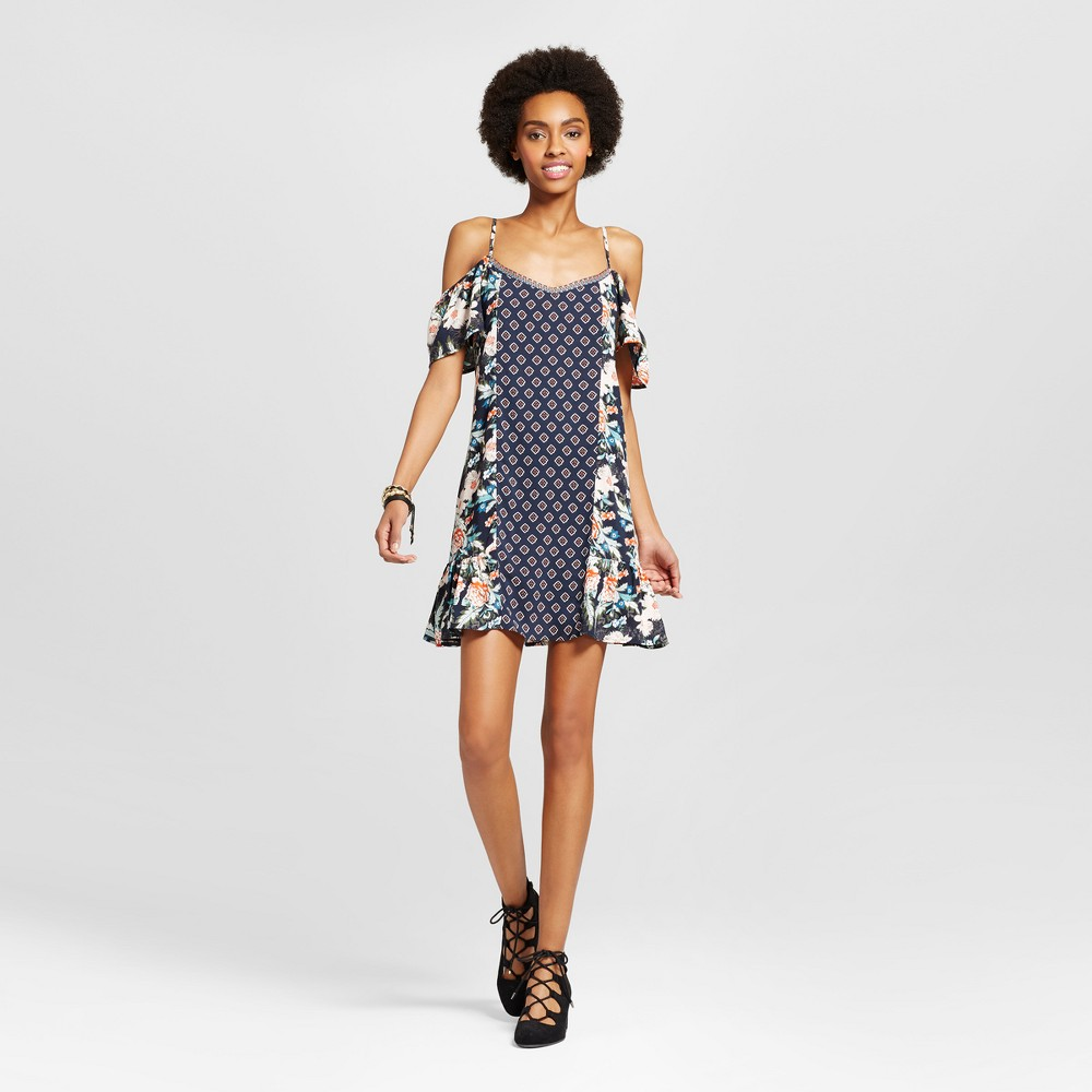 Womens Cold Shoulder Mixed Print Shift Dress - Xhilaration (Juniors) Navy (Blue) XL