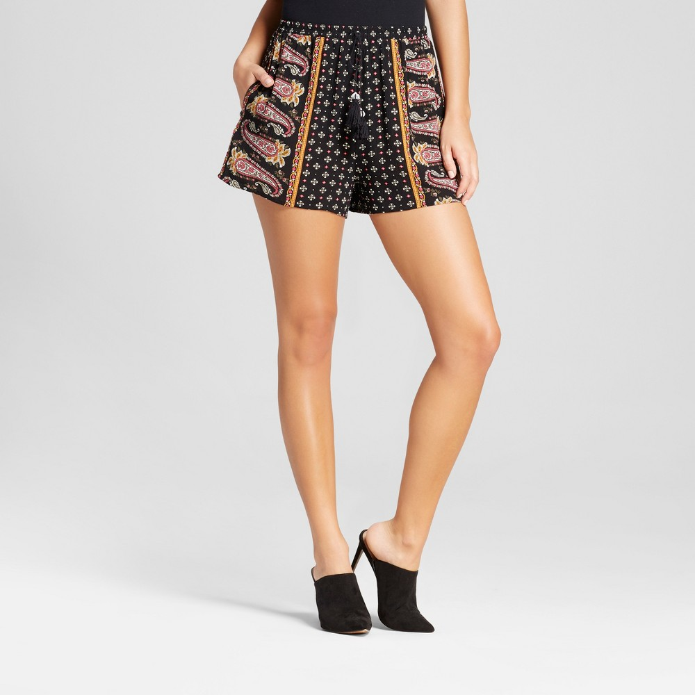 Womens Printed Soft Shorts - Xhilaration (Juniors) Black S