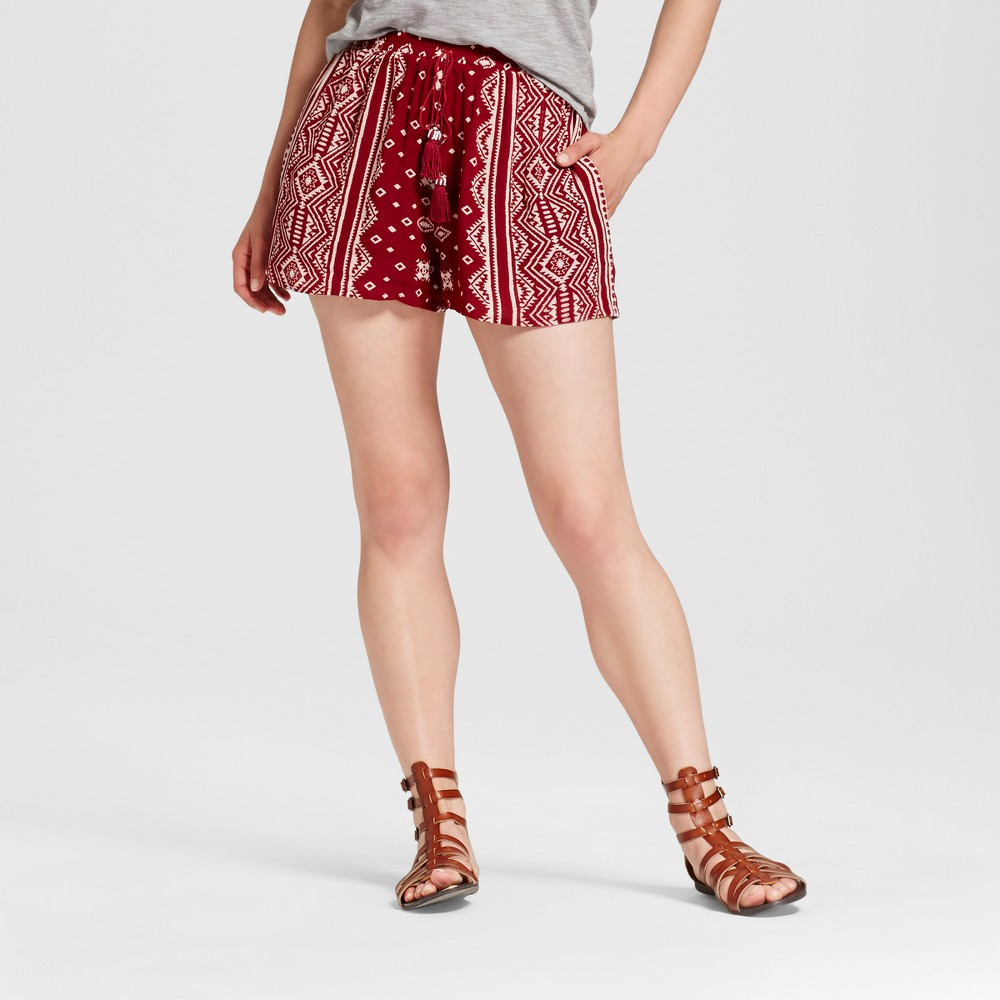 Womens Printed Soft Shorts - Xhilaration (Juniors) Burgundian Wine M