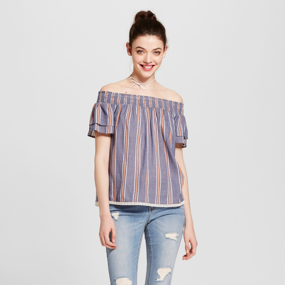 Womens Smocked Off the Shoulder Top - Xhilaration (Juniors) Chambray S