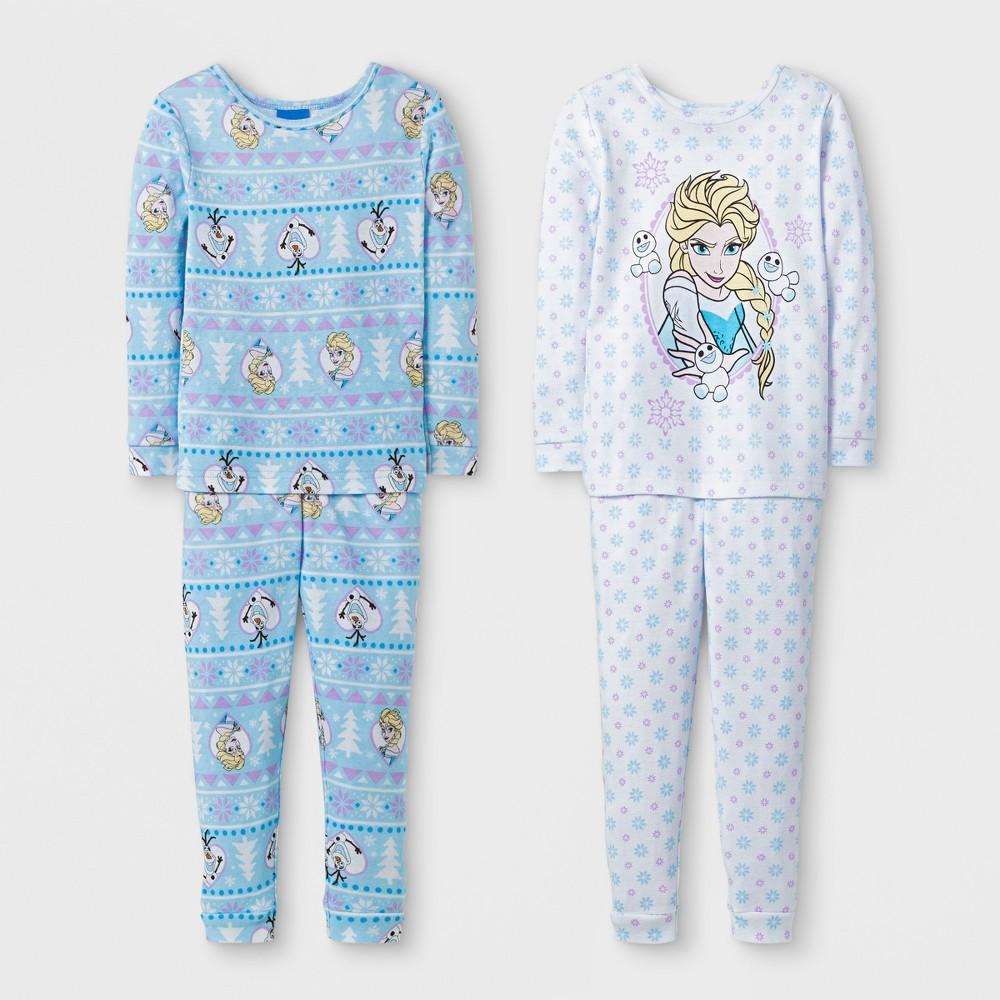 Toddler Girls 4pc Disney Frozen Elsa Pajama Set - White 4T