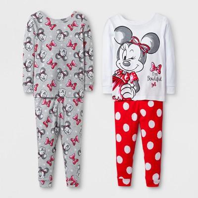 Toddler Girls' 4pc Disney® Minnie Mouse Pajama Set - White 12M
