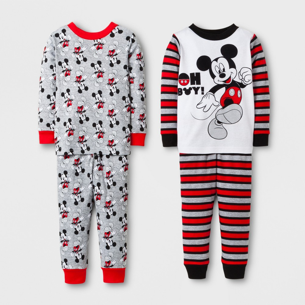 Toddler Boys 4pc Mickey Mouse Pajama Set - White 18M, Size: 18 M