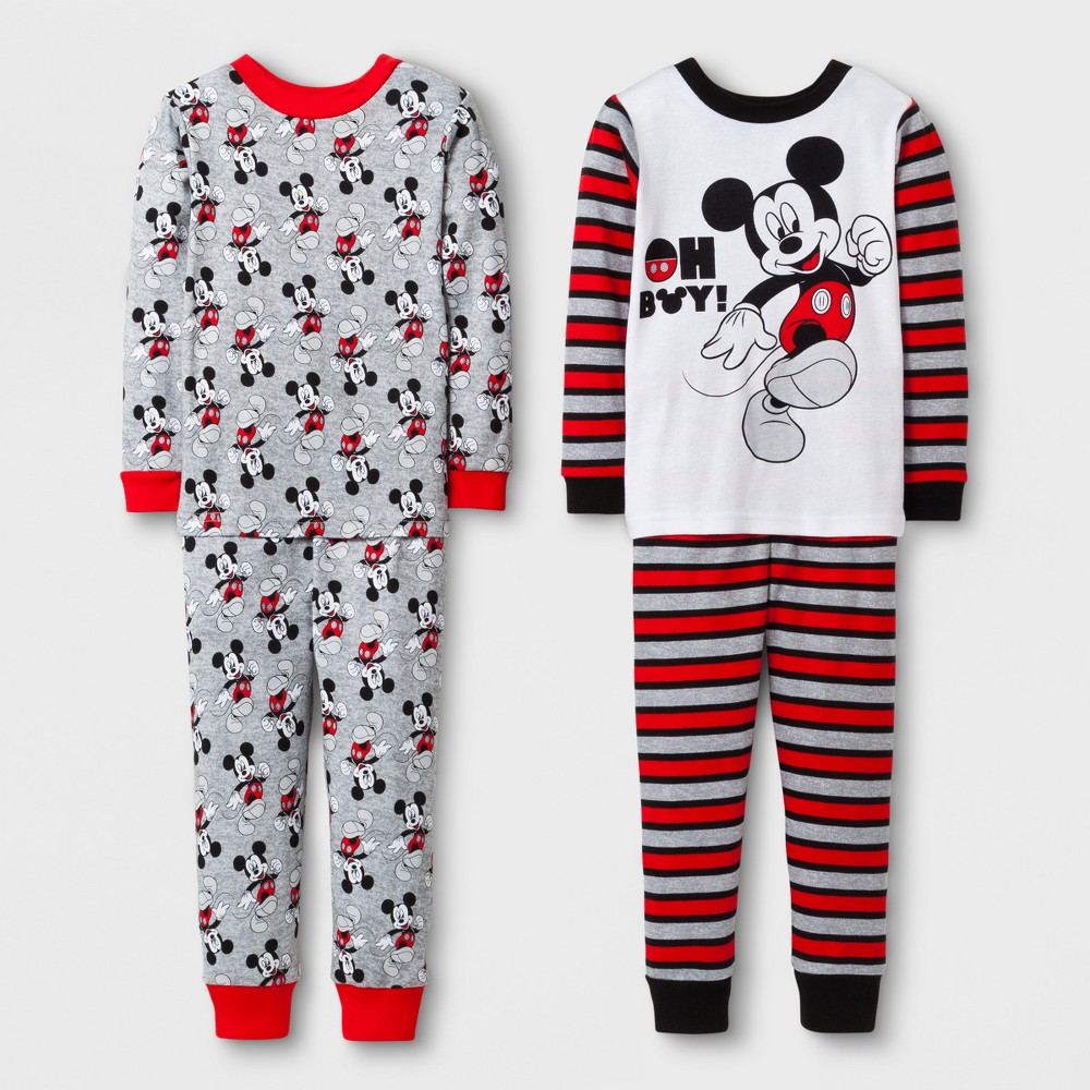 Toddler Boys 4pc Mickey Mouse Pajama Set - White 4T