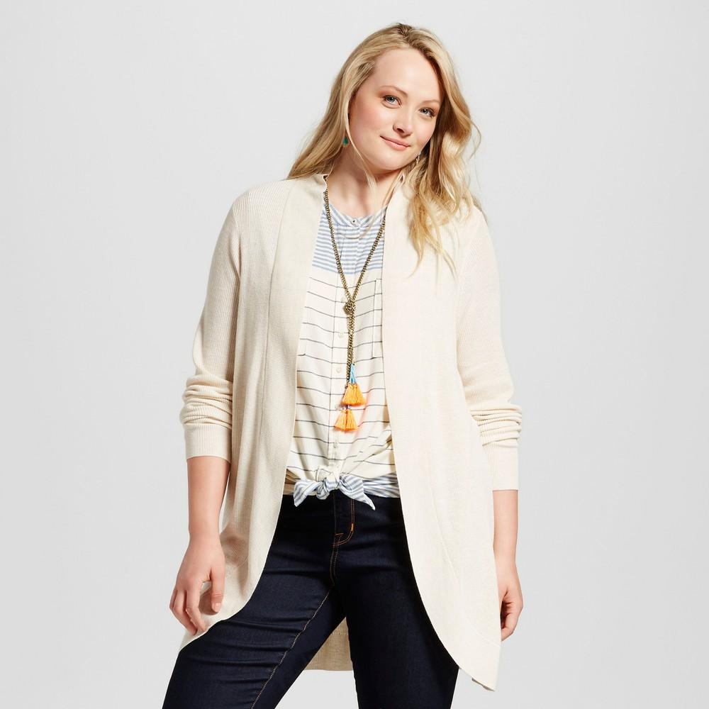 Womens Plus Size Cocoon Cardigan - Ava & Viv Oatmeal X