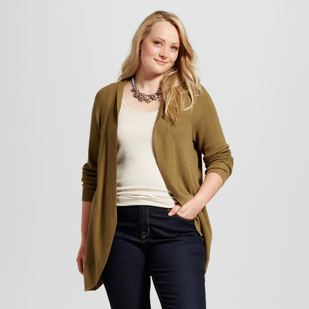 Womens Plus Size Cocoon Cardigan - Ava & Viv Olive (Green) 2X