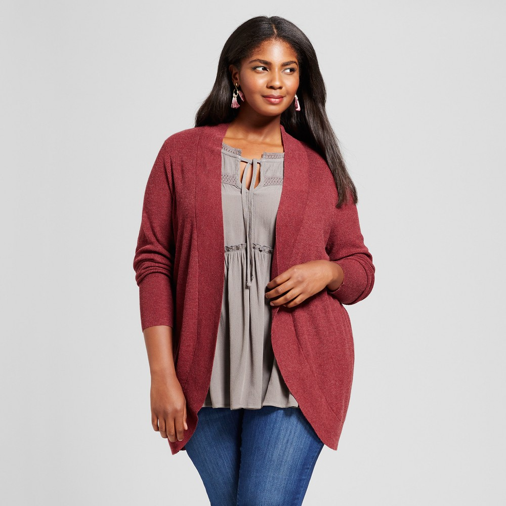 Womens Plus Size Cocoon Cardigan - Ava & Viv Berry (Pink) 2X