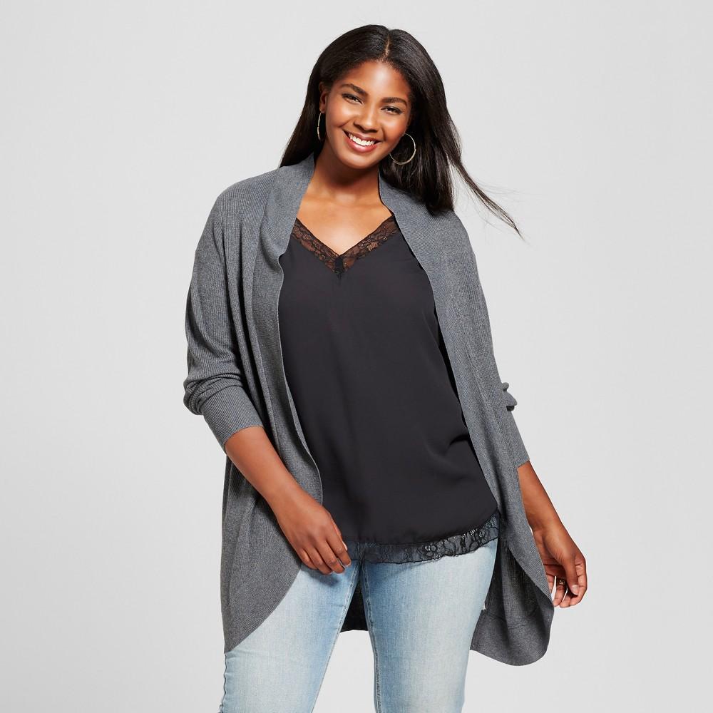Womens Plus Size Cocoon Cardigan - Ava & Viv Heather Gray 2X