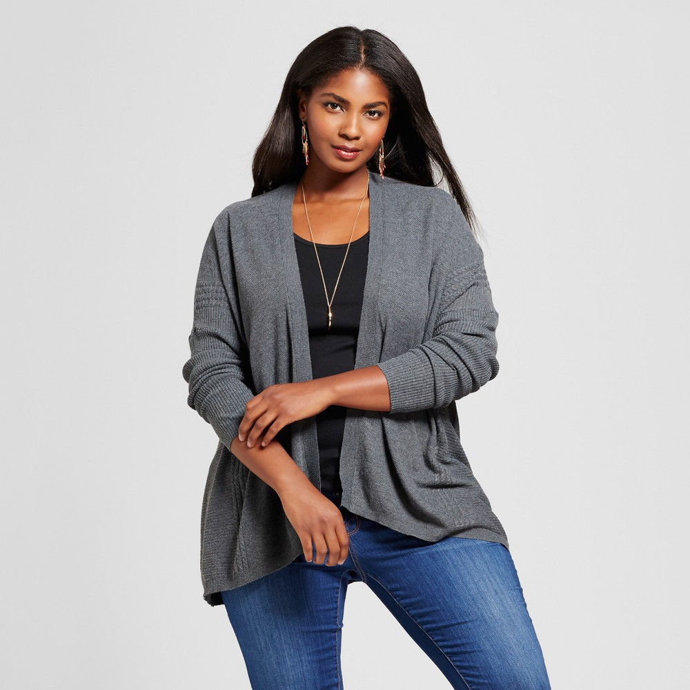 Womens Plus Size Textured Open Cardigan - Ava & Viv Charcoal Gray 4X