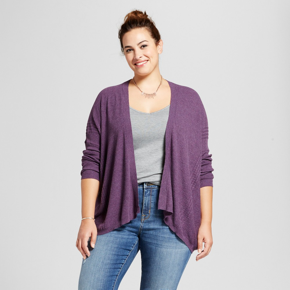 Womens Plus Size Textured Open Cardigan - Ava & Viv Purple 2X