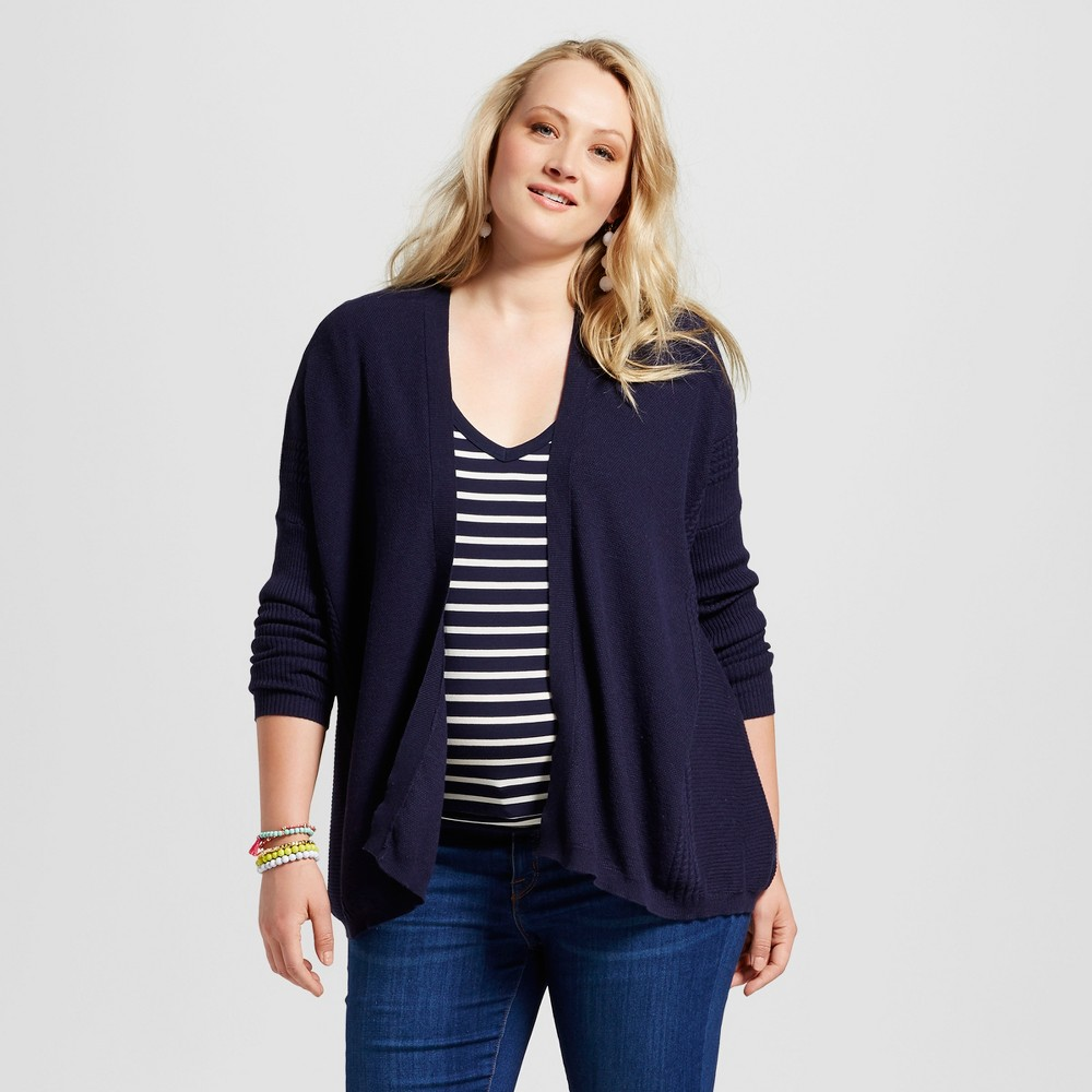 Womens Plus Size Textured Open Cardigan - Ava & Viv Navy (Blue) 1X