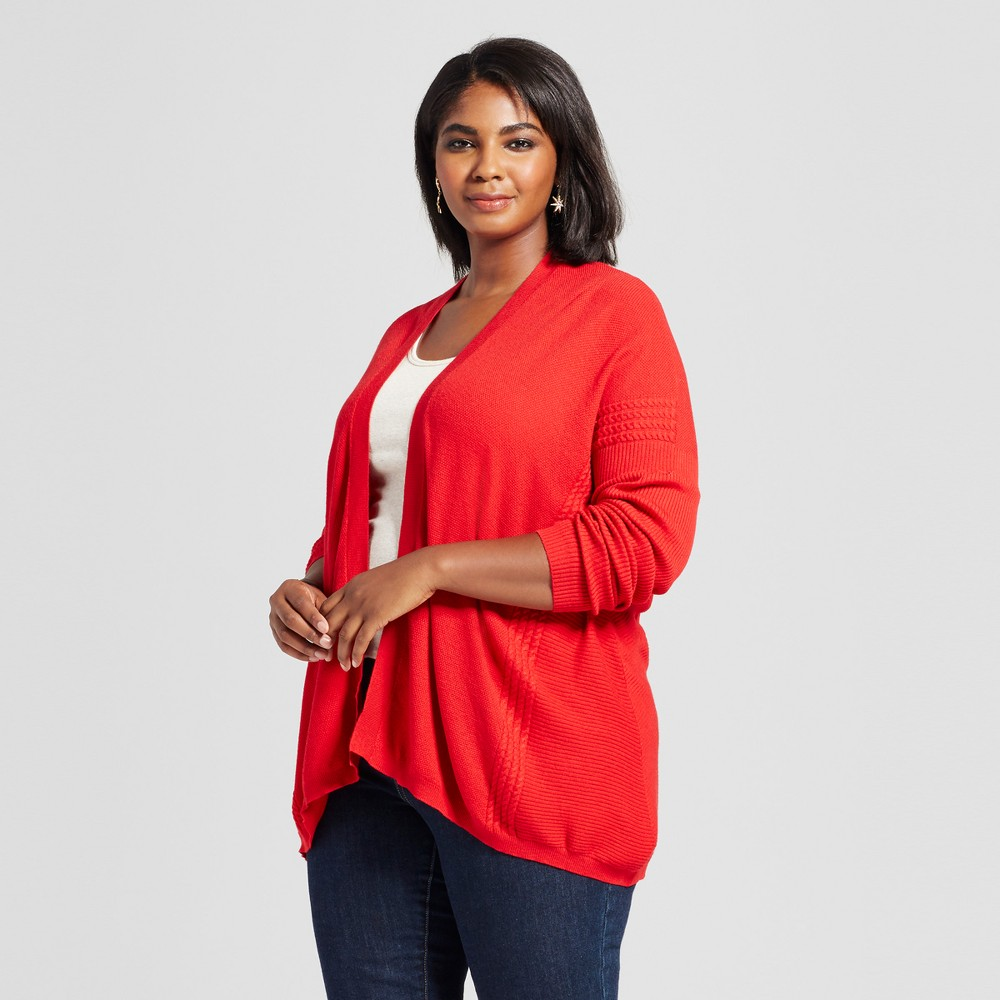 Womens Plus Size Textured Open Cardigan - Ava & Viv Red 4X
