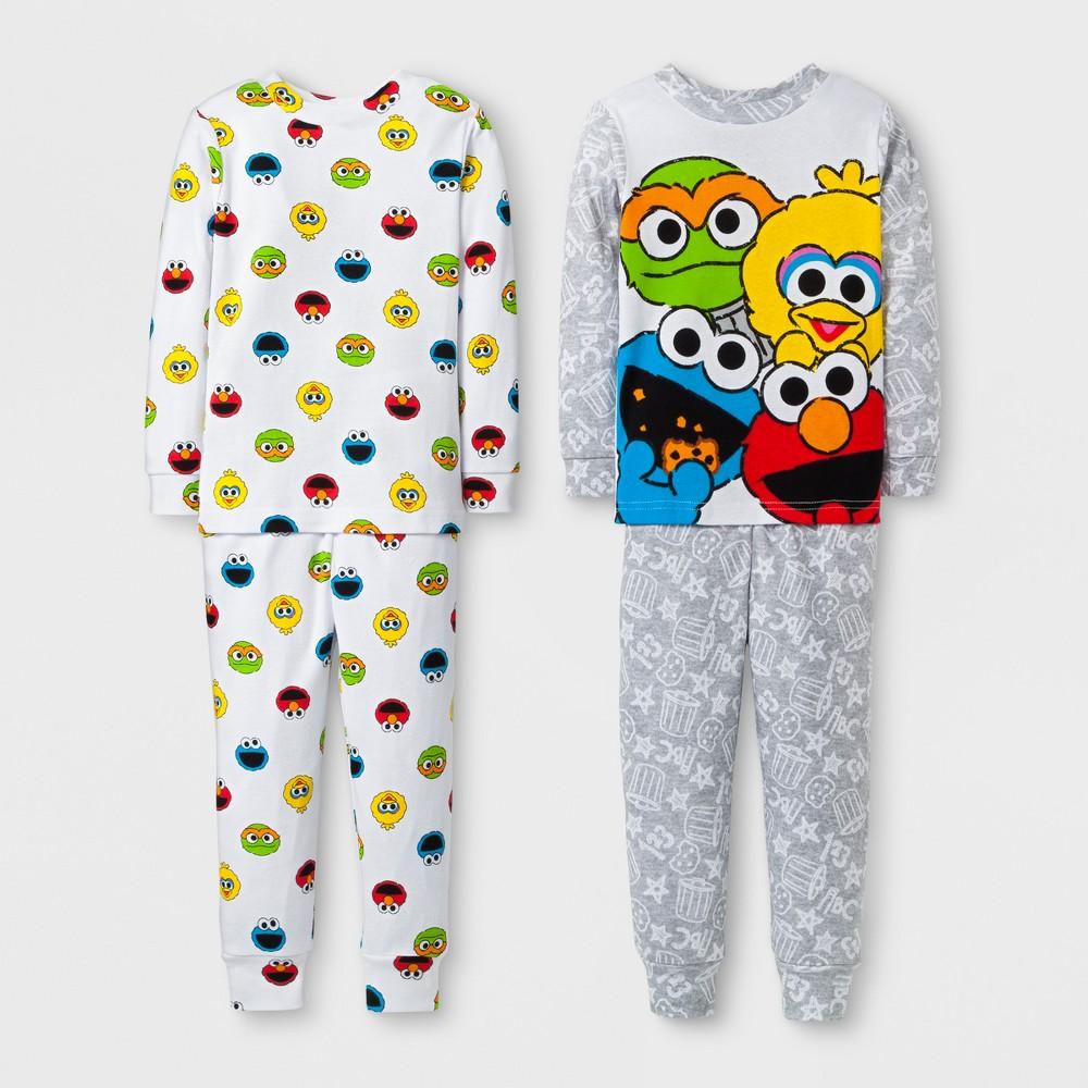 Toddler Boys 4pc Sesame Street Pajama Set - White 4T