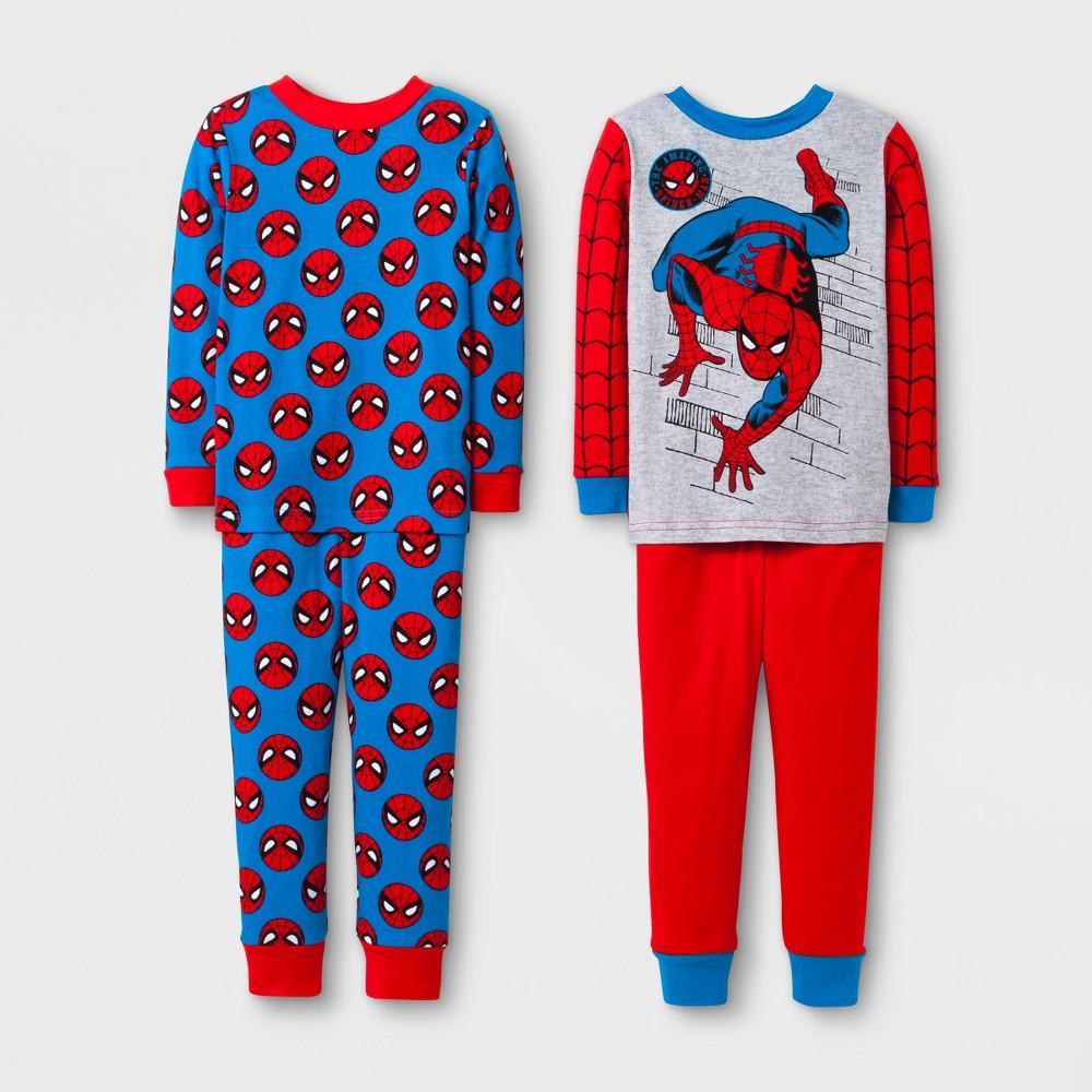 Toddler Boys 4pc Spider-Man Pajama Set - Red 2T