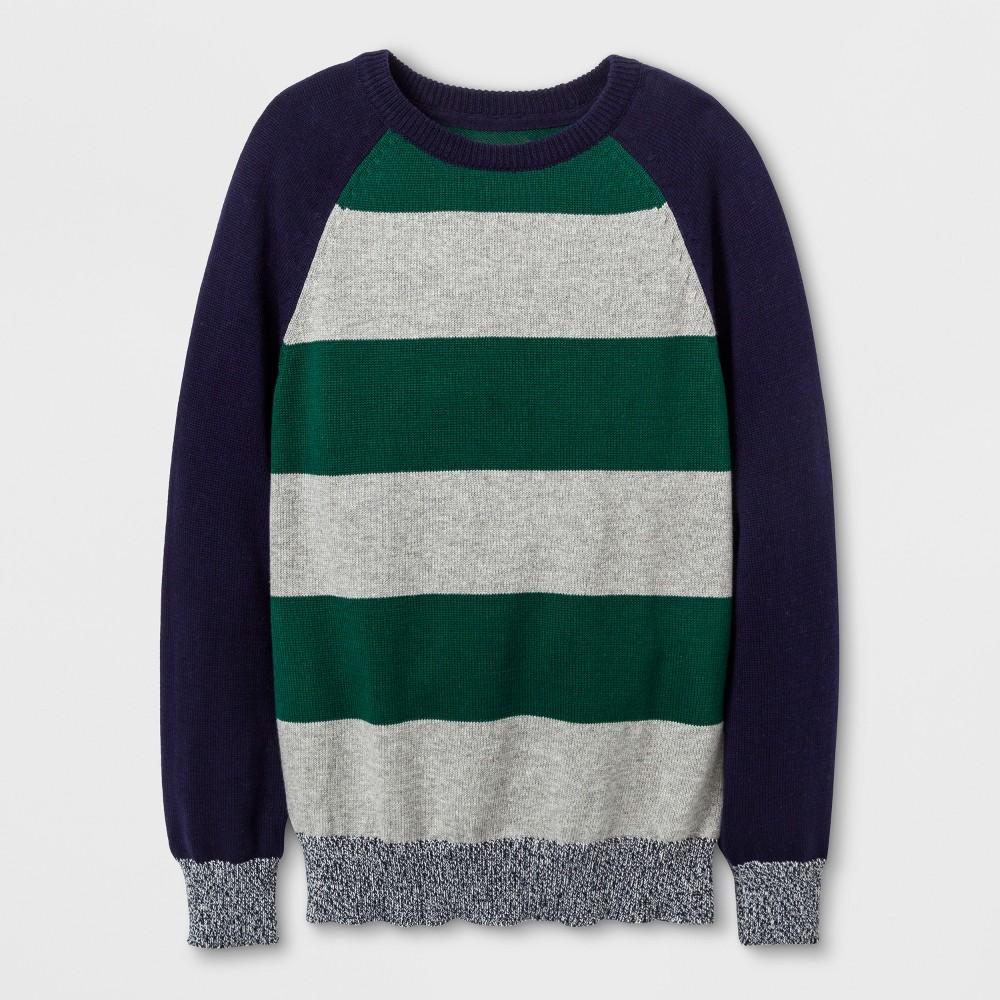 Boys Raglan Stripe Pullover Sweater - Cat & Jack Navy M, Blue