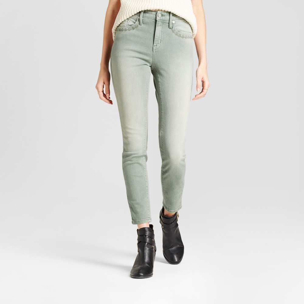 Womens Jeans High Rise Skinny - Mossimo Light Green 2 Long