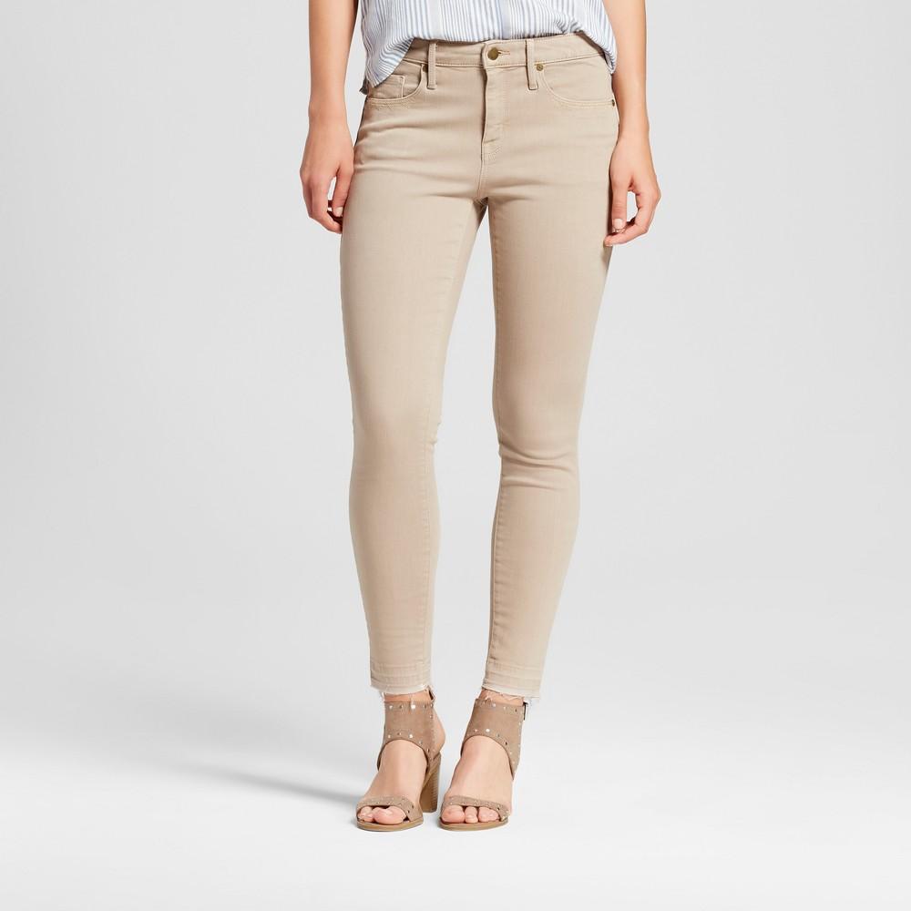 Womens Jeans High Rise Skinny - Mossimo Khaki 2 Long, Brown