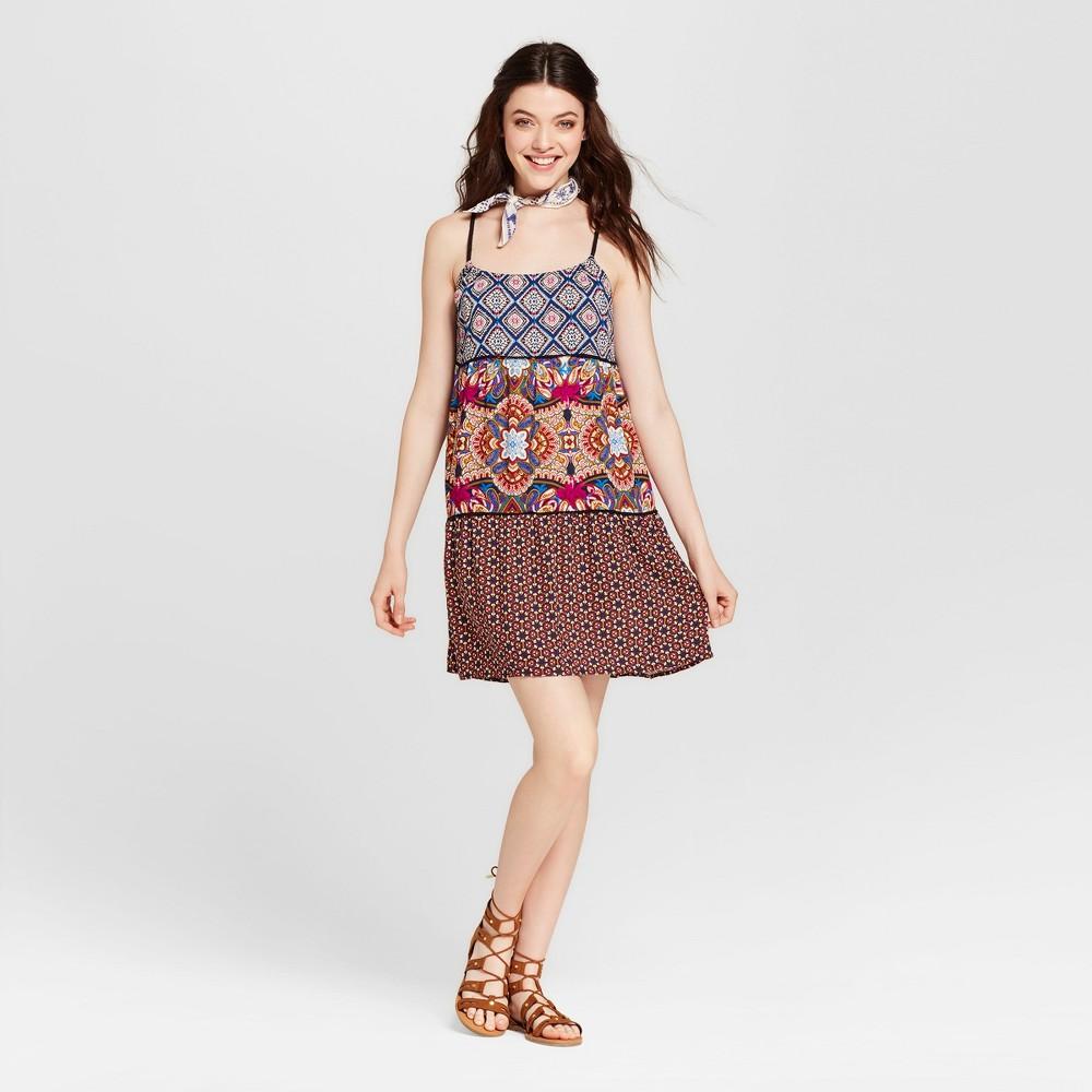 Womens Mixed-Print Babydoll Dress - Xhilaration (Juniors) Blue S
