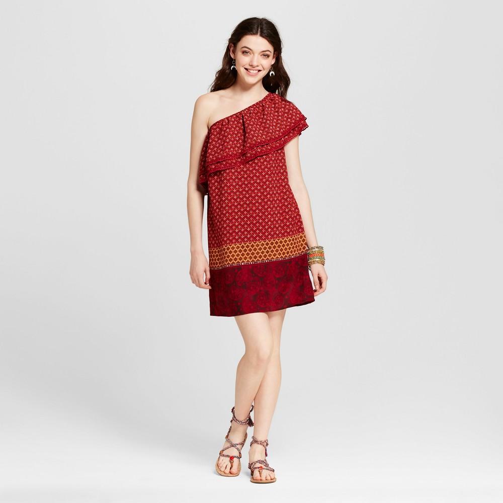 Womens One-Shoulder Shift Dress - Xhilaration (Juniors) Red S