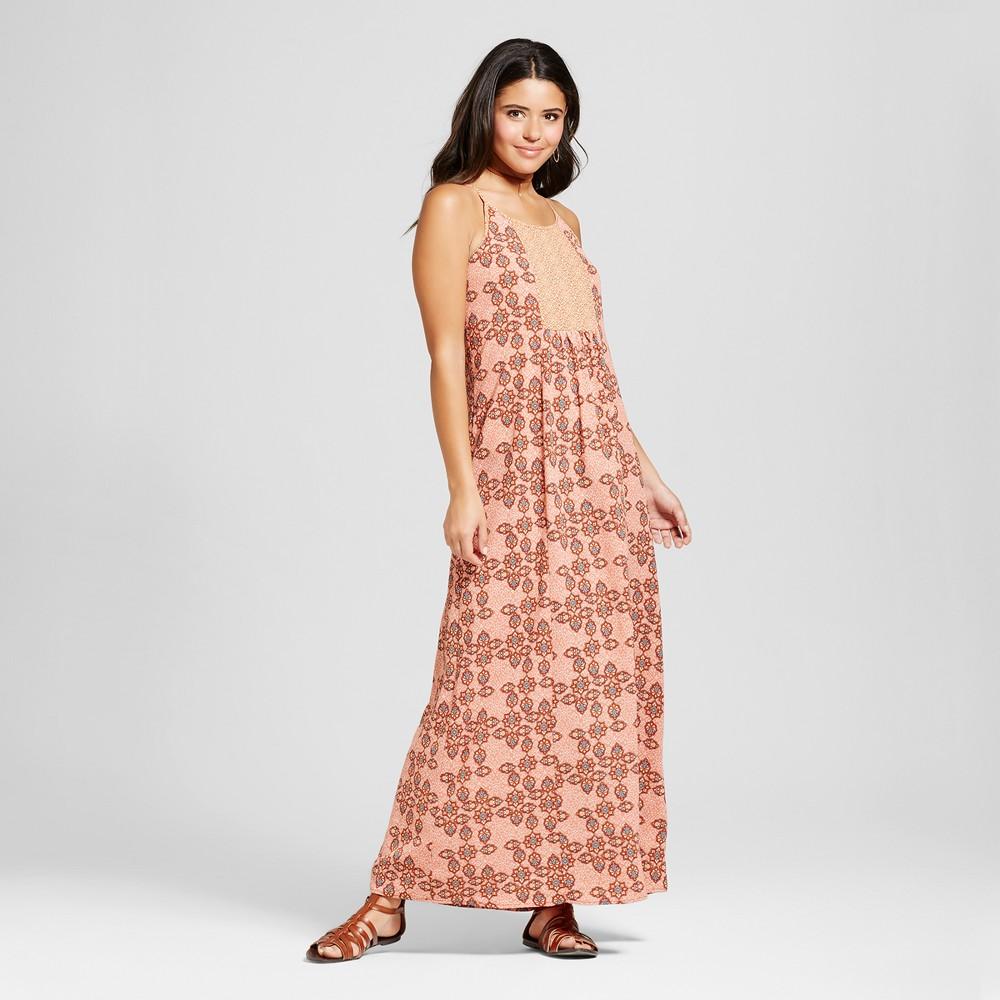 Womens Mixed-Print Maxi Dress - Xhilaration (Juniors) Orange XS