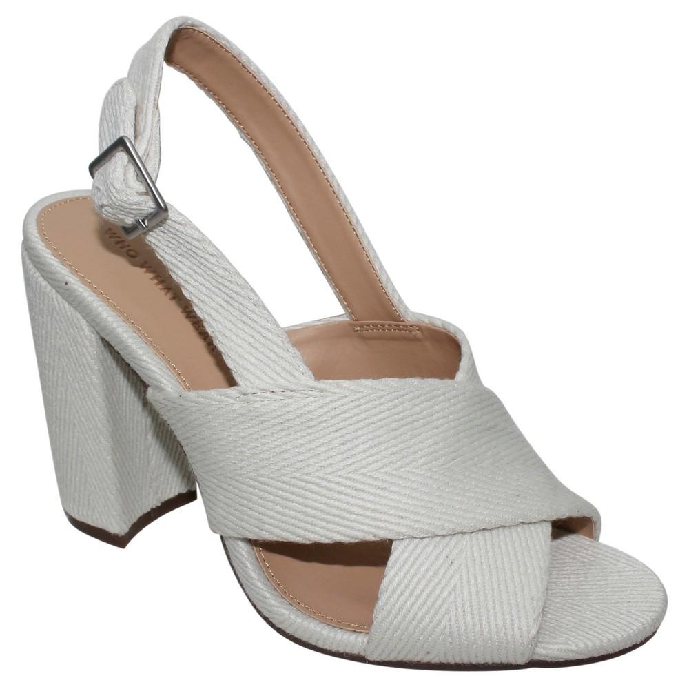 Women's Harper Canvas Crossband Sandals Who What Wear - White 9
