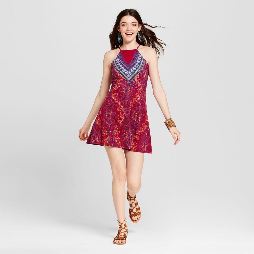 Womens Printed Fit & Flare Dress - Xhilaration (Juniors) Fuchsia L, Pink