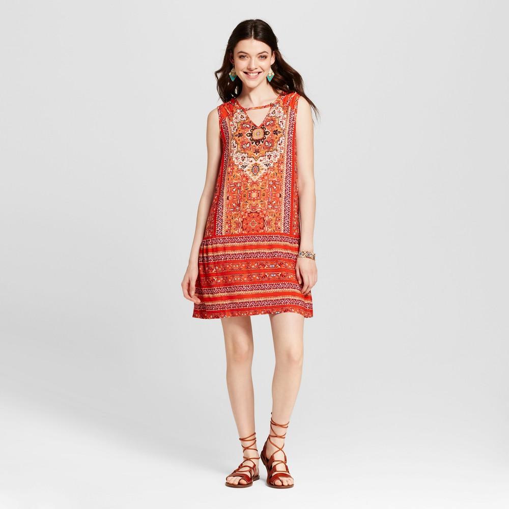 Womens Printed Drop Waist Shift Dress - Xhilaration (Juniors) Orange M
