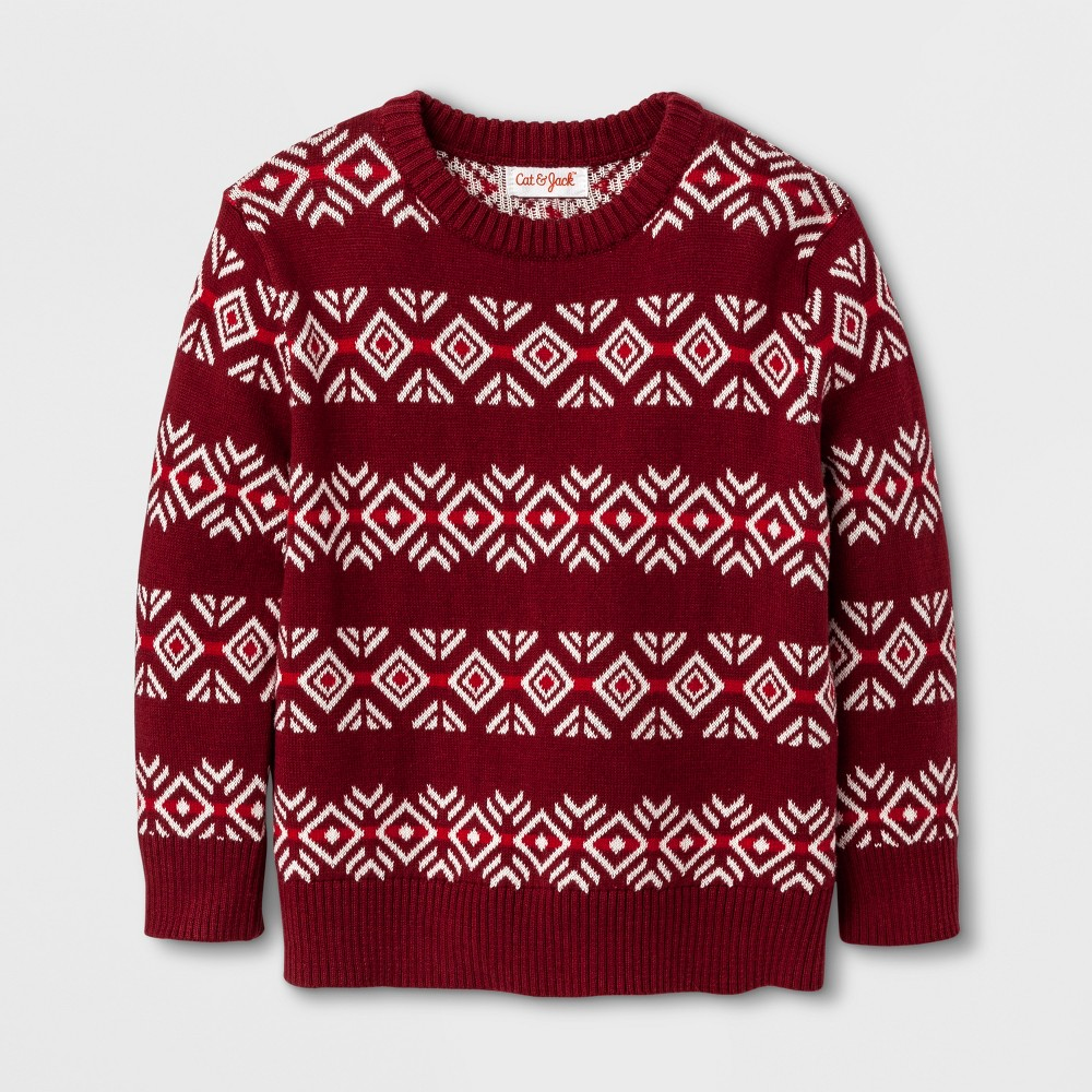 Toddler Boys Crew Neck Pullover Sweater - Cat & Jack Red Fair Isle 3T
