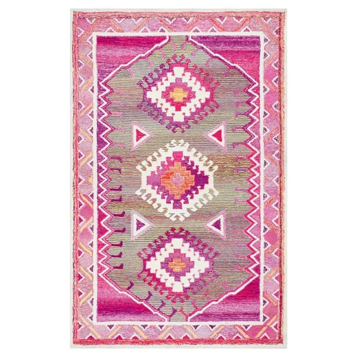 Hand Tufted Castle Tribal Pink Rug