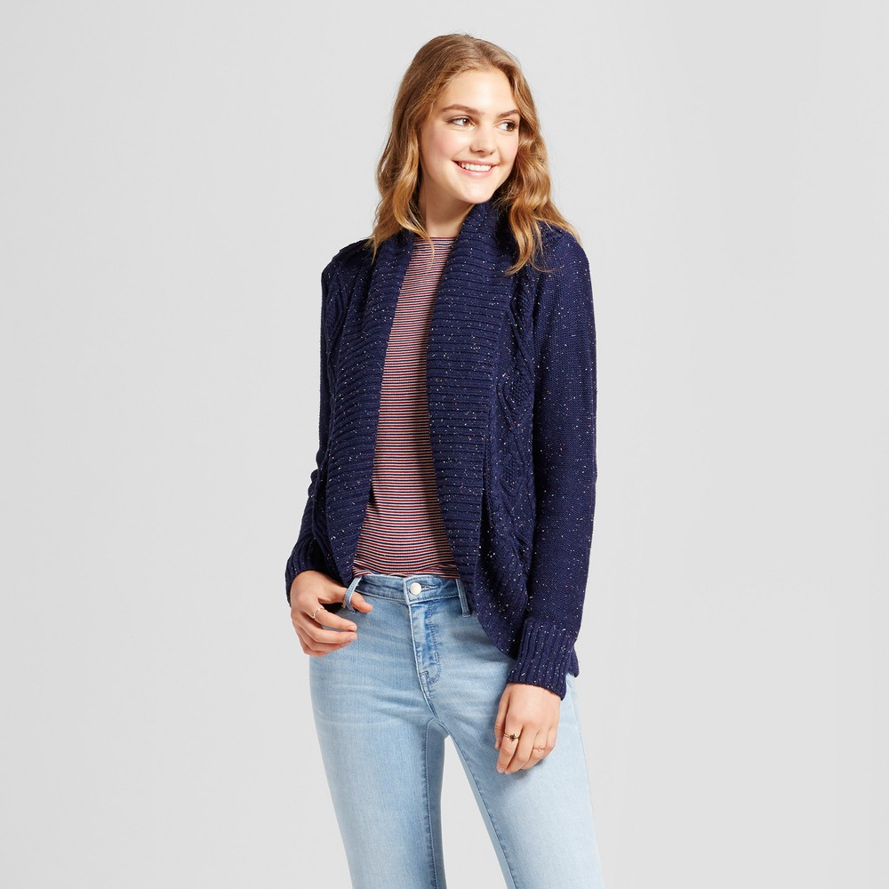 Womens Cable Knit Cocoon Cardigan - Mossimo Supply Co. Navy L, Blue