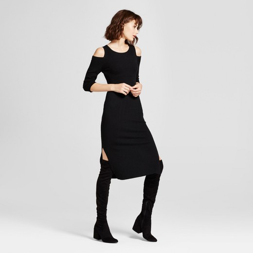 Women's Cold Shoulder Ribbed Sweater Dress - Mossimo™ Black : Target