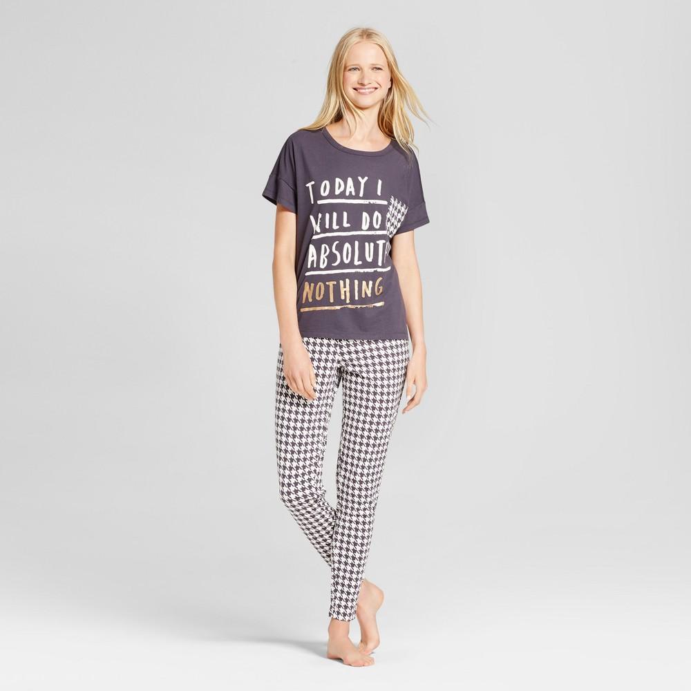 Nite Gear Houndstooth Womens Pajama Set - Gray/Ivory XS, Black White