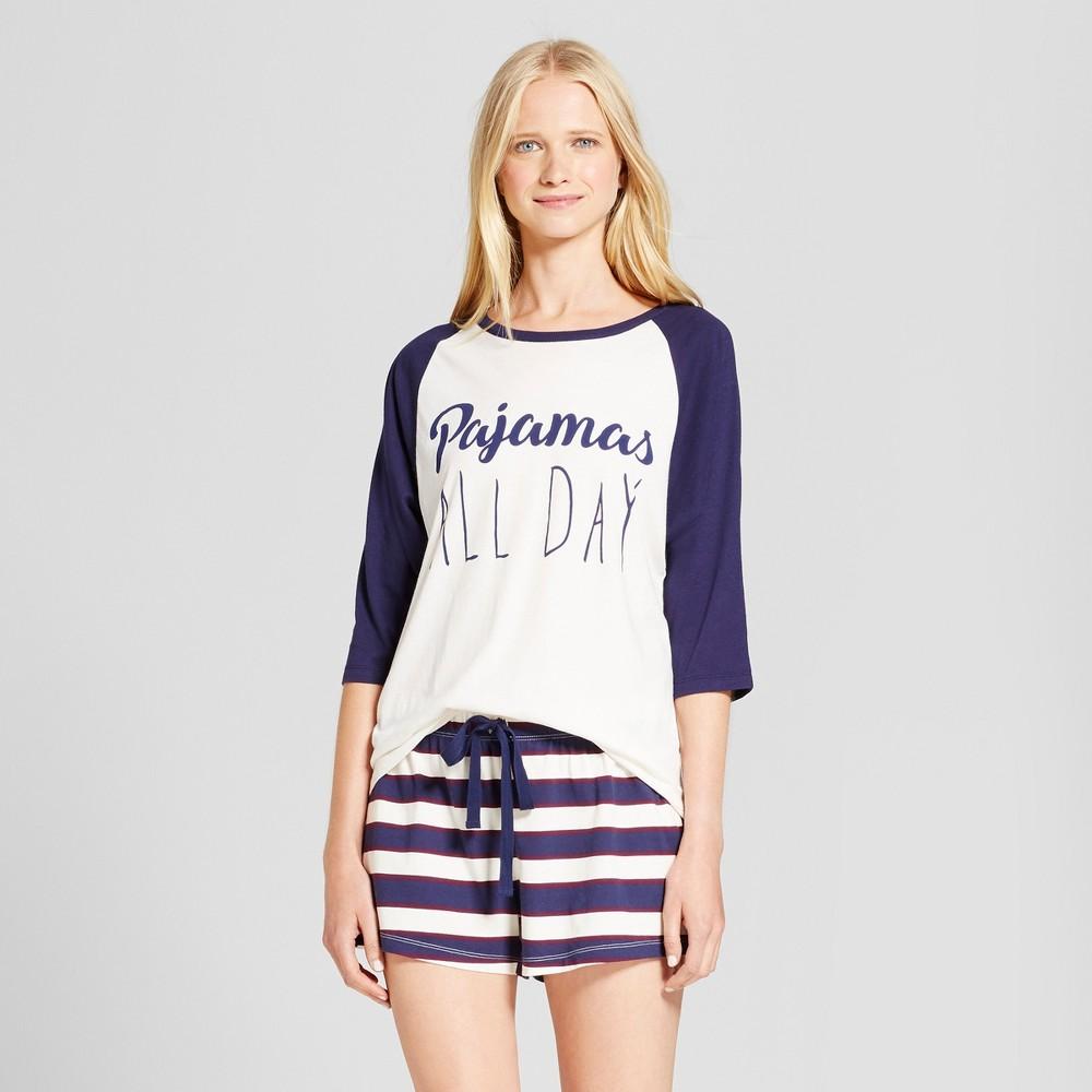 Nite Gear Womens Pajamas All Day Pajama Set - Navy/Ivory S, Blue White