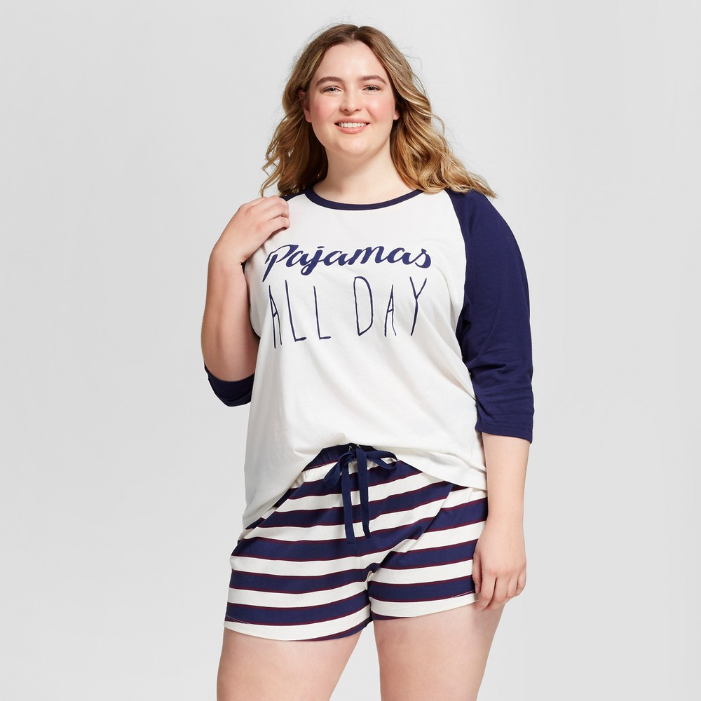 Womens Plus Size Pajama 3/4 Sleeve Top/Boxer Set - Navy/Ivory 3X, Blue