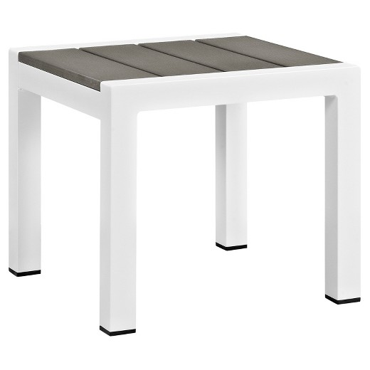 S Square Outdoor Patio Aluminum Side Table White Gray Modway