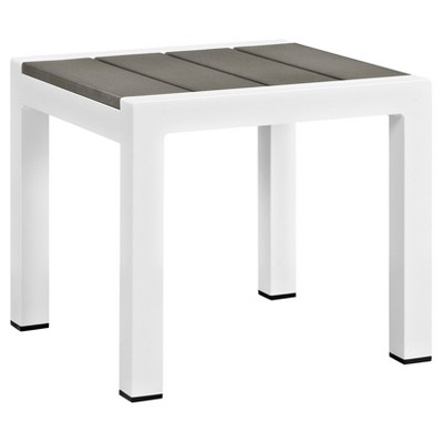 Shore Square Outdoor Patio Aluminum Side Table   White Gray   Modway