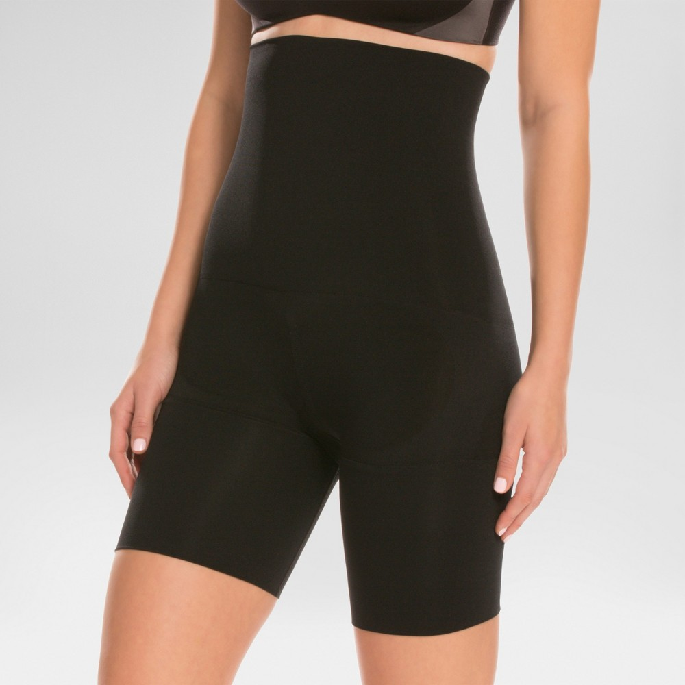 Assets by Spanx Womens Remarkable Results High Waist Mid-thigh Shaper - Black 1X