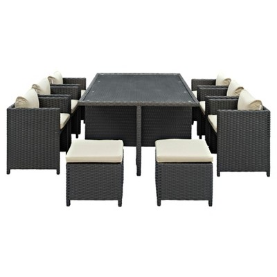 Sojourn 11 Piece Outdoor Patio Sunbrella® Dining Set   Modway