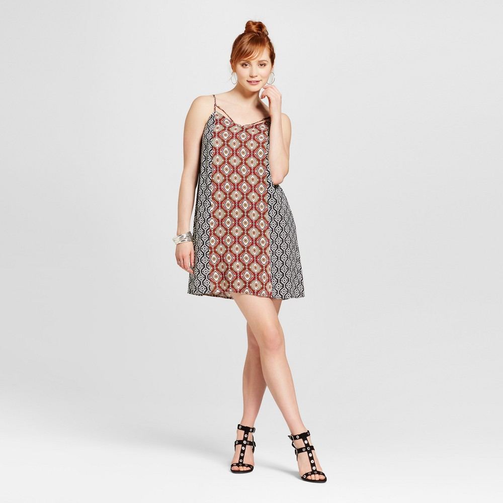 Womens Strappy-Front Mixed Print Shift Dress - Xhilaration (Juniors) Orange M