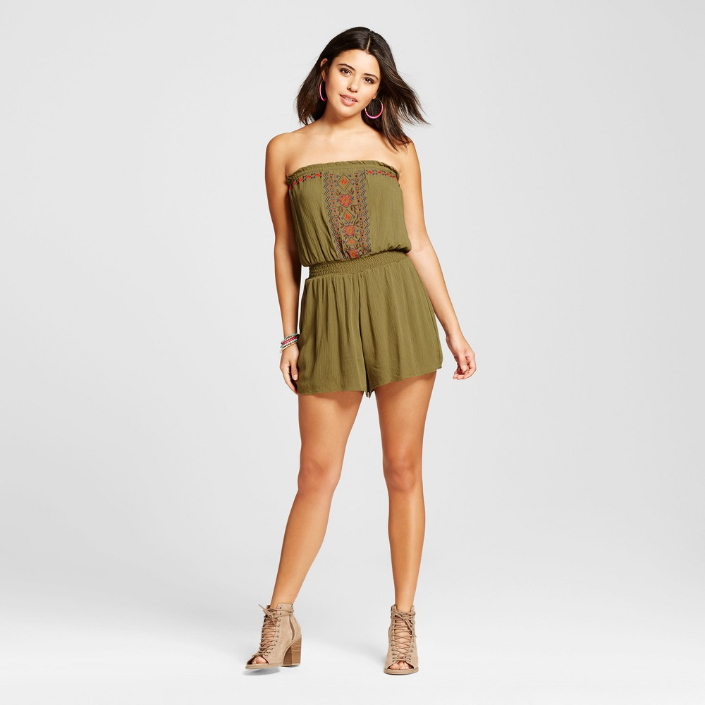 Womens Embroidered Tube Romper - Xhilaration (Juniors) Seaweed XS
